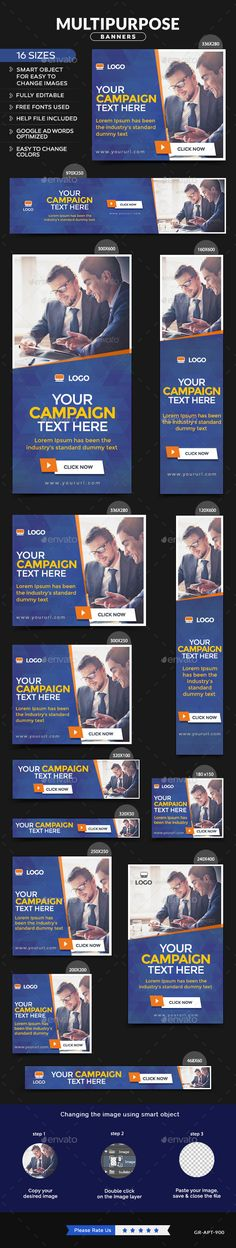 Multipurpose Web Banners Template #design #ads Download: http://graphicriver.net/item/multipurpose-banners/12961222?ref=ksioks