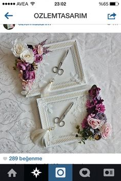 Idea - glue artificial flowers on plain trays. Wedding Cups, Wedding Favours, Diy Wedding, Wedding Gifts, Trousseau Packing, Cottage Wedding, Marriage Gifts, Shabby Chic Frames, Ring Pillows