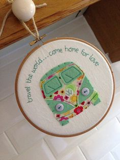 Campervan Embroidery Hoop Wall Hanging by KirstensLOVEFelts