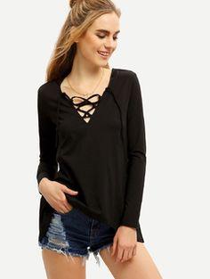 Black Drawstring Lace Up Neck T-Shirt