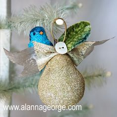12 Days of Christmas Ornament Swap hosted by Alanna George. Partridge in a Pear Tree by Alanna George.