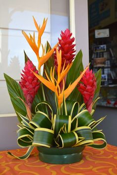 Beautiful tropical flower arrangement at the Museum Shop