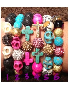 Skull & Cross gemstone bracelets with by EmilyGailCollections, $20.00