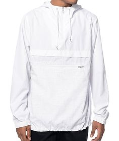 Protect yourself from light winds and rain in a stylish windbreaker anorak jacket from Empyre. The Transparent is a classic anorak style design that features a white upper accented by a speckle print lower body plus an adjustable drawcord hem for a comfor