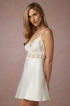 This wonderful A-Shaped chemise pulls in in all the right places. This wonderful A-Shaped chemise pulls in in all the right places. Virginia Chemise from BHLDN Weddings. Best Lingerie, Pretty Lingerie, Vintage Lingerie, Beautiful Lingerie, Sleepwear Women, Lingerie Sleepwear, Nightwear, Wedding Night Lingerie, Wedding Lingerie