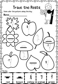 This set contains 20 Autumn themed trace and color music worksheets in two different formats pages in total). First kids trace music symbols, notes, rest and dynamics, then they color the picture using the key. All activities require no preparation Music Activities For Kids, Music Lessons For Kids, Music For Kids, Music Writing, Kids Writing, 2nd Grade Music, Color Music, Music Theory Worksheets, Sheet Music