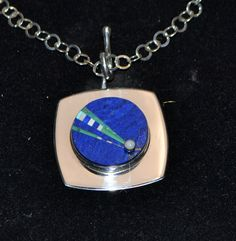 by Jeff Fulkerson Sterling Silver inlaid pendant with lapis, turquoise, malachite & opal