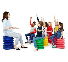 ErgoKids wobble stool for active seating in a flexible classroom. Fun, colorful and available in 3 sizes for all ages! Classroom Stools, Classroom Design, Classroom Fun, Comfortable Living Room Chairs, Accent Chairs For Living Room, Learning Spaces, Learning Environments, 21st Century Classroom, Chairs For Rent