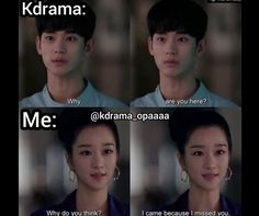 Kdrama Memes, Funny Kpop Memes, Funny Vid, Haha Funny, Korean Drama Funny, Korean Drama List, Korean Drama Quotes, Drama Fever, Korean Words