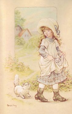 Sarah Kay (new style): Girl with kitten in her pinafore skirt Sarah Key, Holly Hobbie, Cute Images, Cute Pictures, Hobby Horse, Vintage Drawing, Cute Illustration, Vintage Cards, Vintage Children