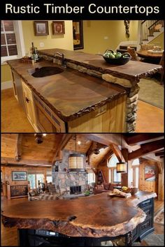 Rustic Timber Countertops - A cabin or a rustic designed house is not complete without a rustic kitchen countertop. If you're - Rustic Timber Countertops - A cabin or a rustic designed house is not complete without a rustic kitchen countertop. Home Renovation, Home Remodeling, Kitchen Remodeling, Quinta Interior, Rustic Kitchen Design, Rustic Design, Kitchen Designs, Design Rustique, Design Your Home