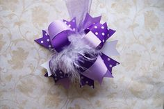 Hair Bow---FULL Size Funky Fun Over the Top Bow---Shades of Purple---5.5 inches. $7.99, via Etsy.