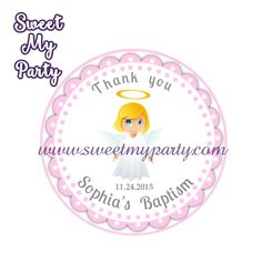 Girl Baptism stickers,Girl Baptism Thank you tags