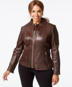 MICHAEL Michael Kors Plus Size Leather Bomber Jacket  | macys.com