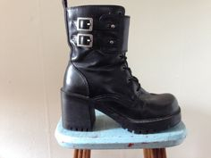 Early 90s GOTH Black Lace Up Buckle Chunk Heel Combat Boot Faux Leather 7