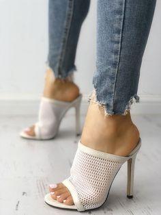 70255a31d40 Fishnet Peep Toe Thin Heeled Sandals  SandalsHeels Heeled Sandals