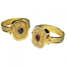 Damaskos Sapphire Cyclades Ring. 18k Gold and a Sapphire or Tourmaline. Greek jewelry at www.athenas-treasures.com