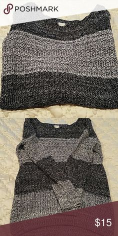 Striped slouchy sweater Slouchy sweater from the store Garage (out of Canada). Black and gray striped. Longer length so perfect to wear with leggings on a cool day. Can be worn off the shoulder as the neck is very wide. Size XS-S. Garage Sweaters
