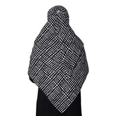 Large Black Colored Hijab with White Square and Rectangle Shapes Designed Scarf / Hijab / Khimar Only $9.99!