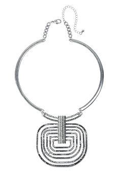 Collier collar détail pendentif serti de pierre cristal finition argenté