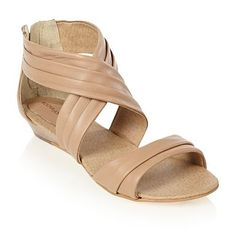 Taupe pleated leather sandals