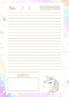 Planner Unicornio 2019 planner diario totalmente grátis, pronto para personalizar e imprimir em casa. Printable Recipe Cards, Printable Planner Stickers, Agenda Planner, Planner Pages, Project Planner, Good Notes, Planner Inserts, Writing Paper, Lettering