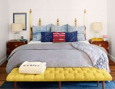 A 1950s brass Hollywood Regency headboard that the homeowner picked up at a local antiques store is ... - David Tsay