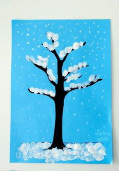 40 Easy Winter Crafts for Kids 59 Winter Tree Finger Painting Quick Art Project for Kids 6 January Art, January Crafts, December, Winter Trees, Winter Fun, Winter Holidays, Finger Painting For Kids, Painting Ideas For Kids, Winter Crafts For Toddlers