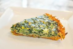 Paleo Gluten Free Sweet Potato Crusted Spinach Quiche