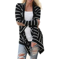 Hot Sales 2017 Autumn Outerwear Women Long Sleeve Striped Printed Cardigan Casual Elbow Patchwork Knitted Soft Sweater Plus Size Cardigans For Women, Jackets For Women, Clothes For Women, Ladies Sweaters, Striped Cardigan, Long Cardigan, Striped Sweaters, Cardigan Sweaters, Sweater Jacket