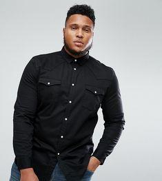 ASOS PLUS Skinny Denim Western Shirt In Black - Black