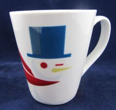 70fa9a531407 Starbucks Snowman White Coffee Mug 2012 Blue Gray Hat Red Scarf