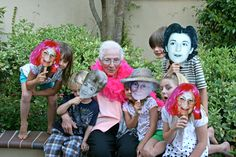make masks for guests at moms 60th birthday party, different stages of her life