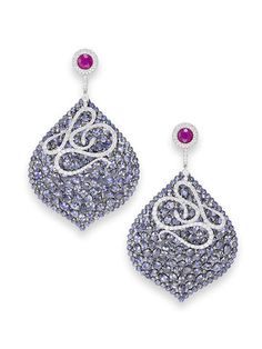 A pair of sapphire and diamond pendent earrings, by Palmiero