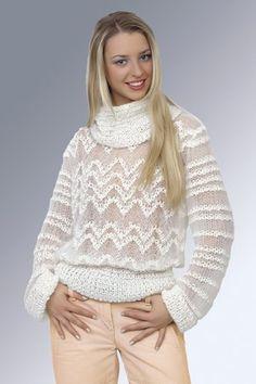 Сверхажурный свитер из мохера - Жакет.Полувер.Свитер