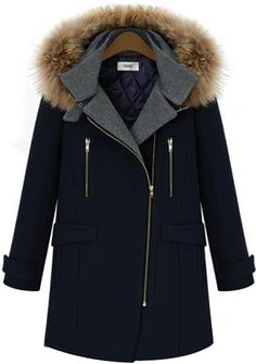 Navy Long Sleeve Hooded Zipper Woolen Coat 59.23