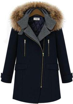 #SALE Navy Long Sleeve Hooded Zipper Woolen Coat Shop the #SALE at #Sheinside