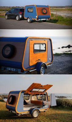 Carapate Teardrop Trailer is Customized with Pull-Out Kitchen for Romantic Getaway - The mini caravan structure is made from marine plywood, whose insulating properties ensure an optimal environment in both summer or winter. Small Camping Trailer, Small Camper Trailers, Tiny Camper, Small Campers, Airstream Camping, Travel Trailers, Glamping, Teardrop Camper Trailer, Diy Camper Trailer