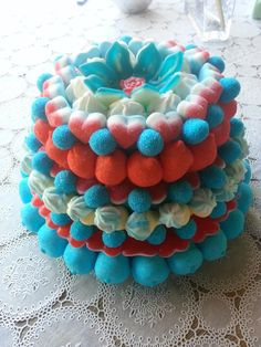 Tarta de chuches - Candy cake - Gâteau de bonbons - Snoeptaart 7 Cake, Cupcake Cakes, Candy Pop, Candy Cakes, Food Decoration, Candy Table, Sweet Cakes, Just For You, Birthday Cake