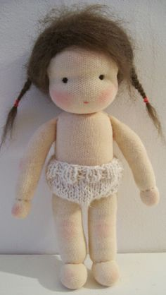 Knitted doll underwear, waldorf doll style. By Poppenatelier Ineke Gray