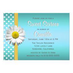 Blue and Yellow Daisy Sweet Sixteen Personalized Invitation