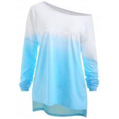 1dd684dc60e Free shipping 2018 Plus Size Ombre Drop Shoulder T-shirt LIGHT BLUE XL  under  19.78
