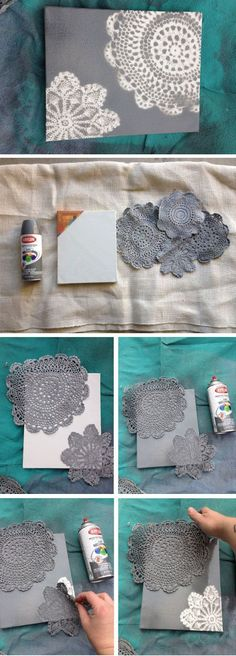DIY wall art with lace doilies, canvas and spray paint