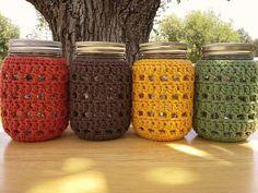 Crochet Mason Jar Cozy Pint Sized Jar by CozyHandcraftsByCat Mason Jar Cozy, Wide Mouth Mason Jars, Crochet Gifts, Crochet Toys, Crochet Jar Covers, Roman Clock, Food Coloring, Just In Case, Crochet Projects