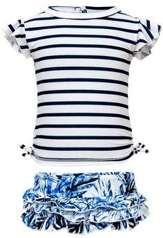 Ombre Leaf UV50 Rash Top Ruffle Swimsuit Set Baby Girl Swimsuit 6ac642234