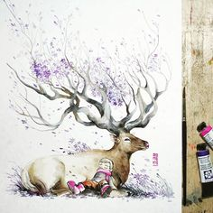 """Bedtime"" Good night guys  watercolor watercolour painting illustration deer stag by"