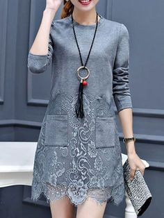 Round Neck Decorative Lace Patch Pocket Plain Polyester Shift Dress - fashionMe.com