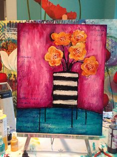 Awesome blog of cool canvas art. Donna Downey I think