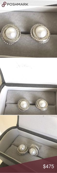 David YurmanDiamond Pearl Crossover Earrings David Yurman Crossover® Earrings with Pearls and Diamonds. Sterling silverWhite cultured freshwater pearls, 6-7mm diameterPavé diamonds, 0.10 total carat weightEarring, 13mm diameter  Great condition! Hardly ever worn David Yurman Jewelry Earrings