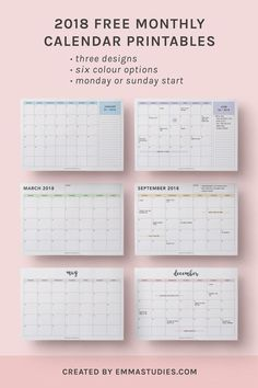 cute printable calendars 2018 monthly free | January 2018 ...